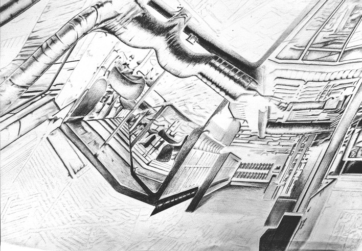 experimental architecture pencial drawing 3