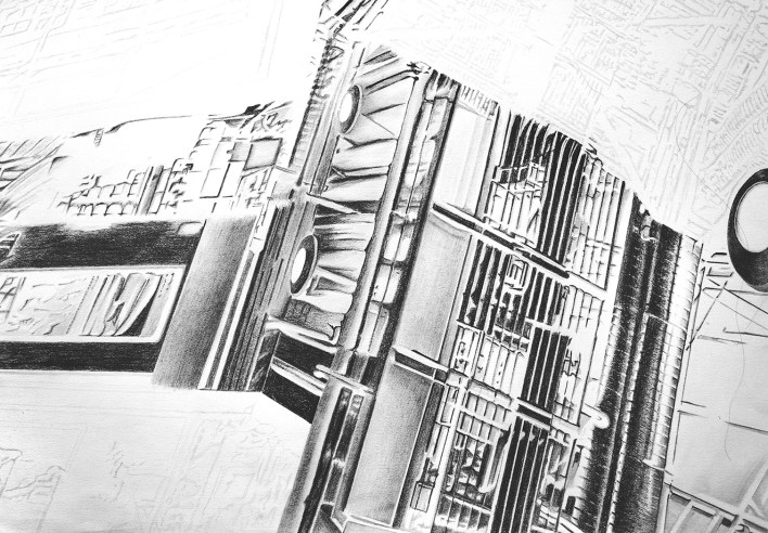 experimental architecture pencial drawing 4