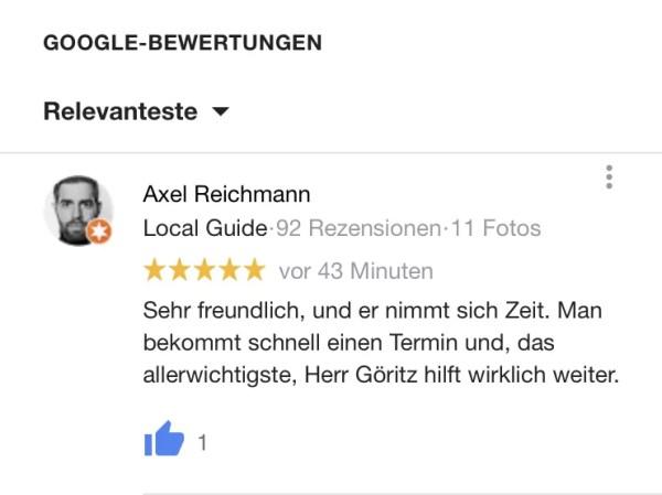 Bewertung für Jan Göritz - Heilpraktiker für Psychotherapie und Psychologischer Berater in Hamburg