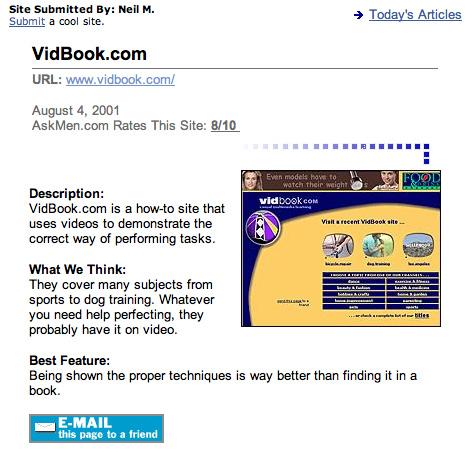 VidBook write-up 2001