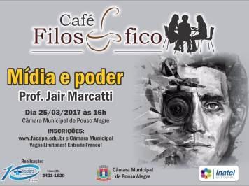 Mídia e Poder é o tema do 1º Café Filosófico deste ano em Pouso Alegre