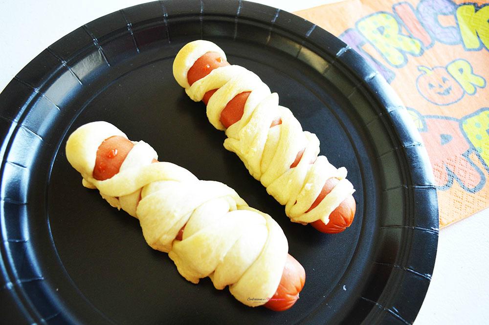 Closeup Mummy Dogs on a Plate