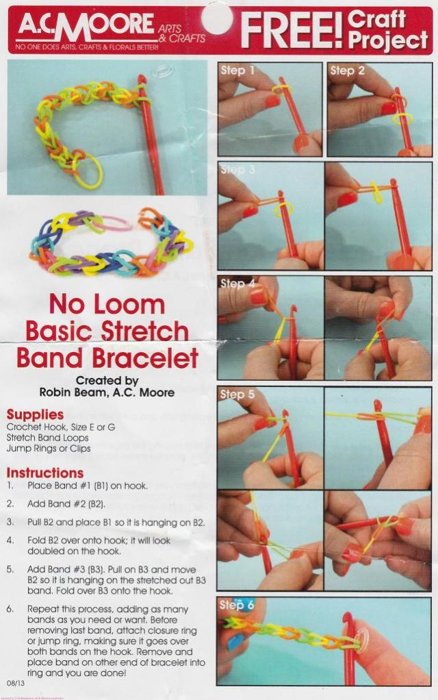 AC Moore's Rubber Band Bracelet Tutorial Flyer