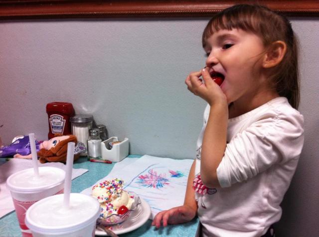 Saturday Night Ice Cream-Emma Eating the Cherry on Top!