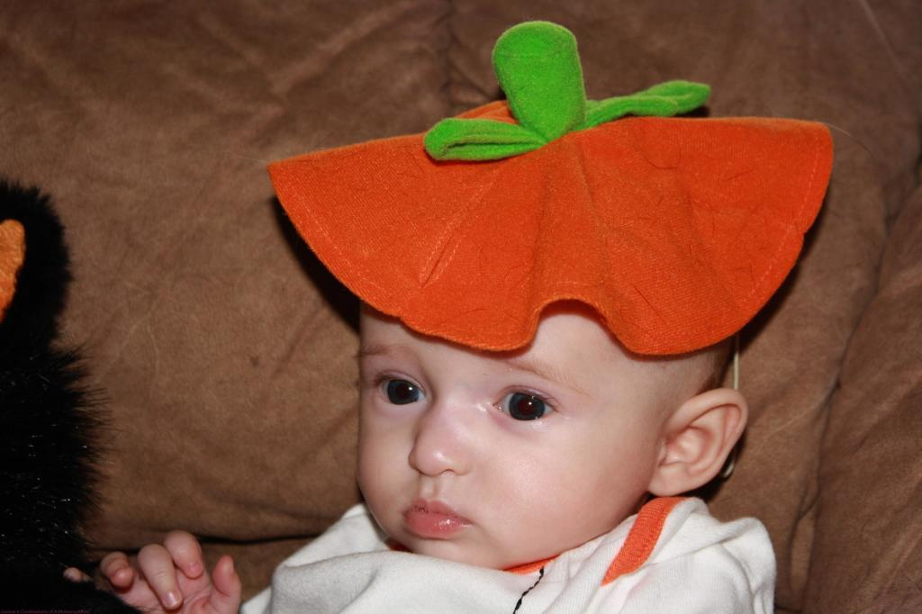 Emma as a Baby Dressed up as a Pumpkin
