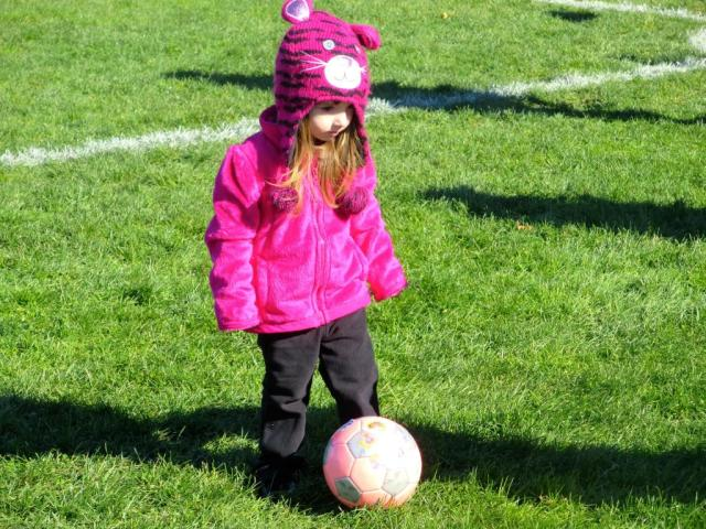 """Lily Playing """"Halloween"""" Soccer Wearing Her Animal Hat to Dress Up for the Occasion!"""