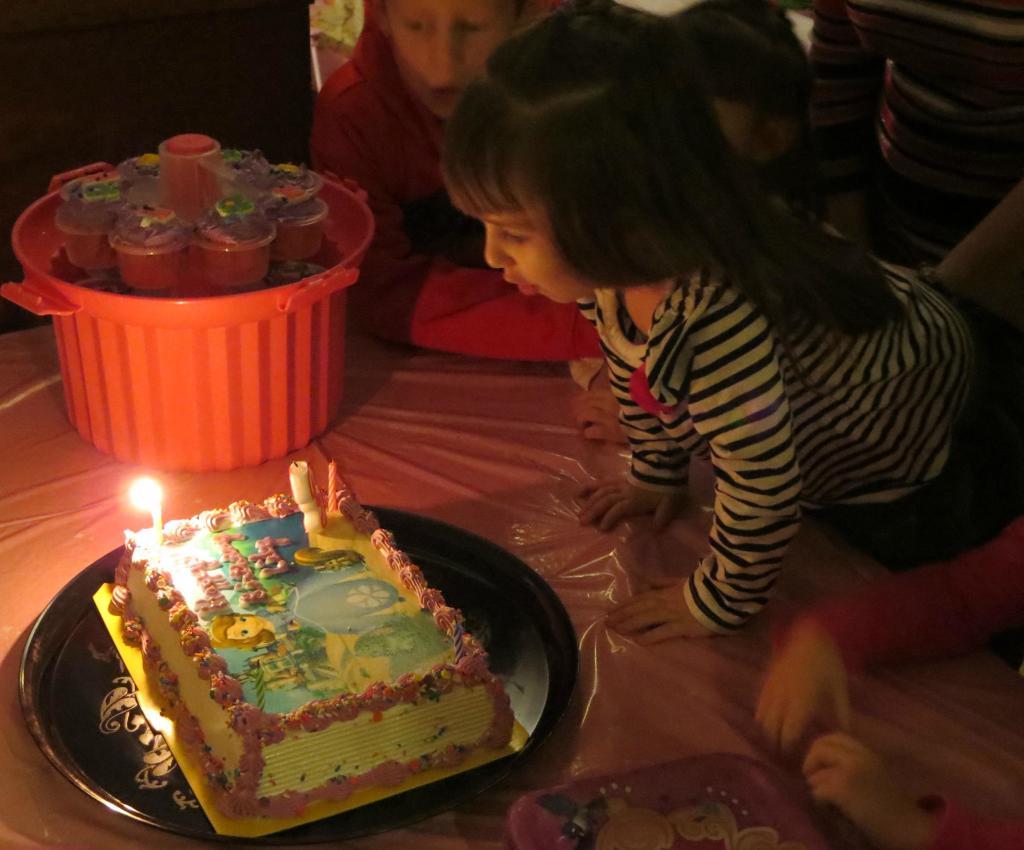 Lily making a wish!