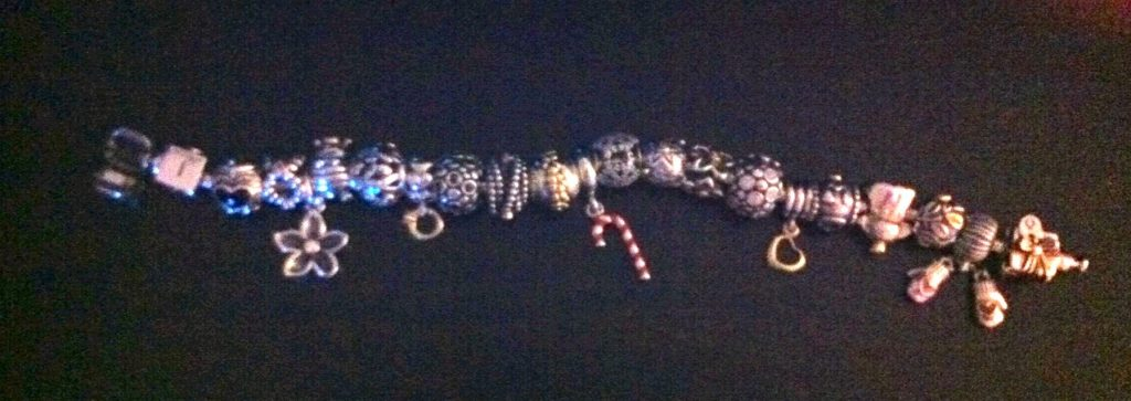 Pandora Bracelet with the 2 New Charms added from the 12 Days of Christmas Collection thanks to my brother!