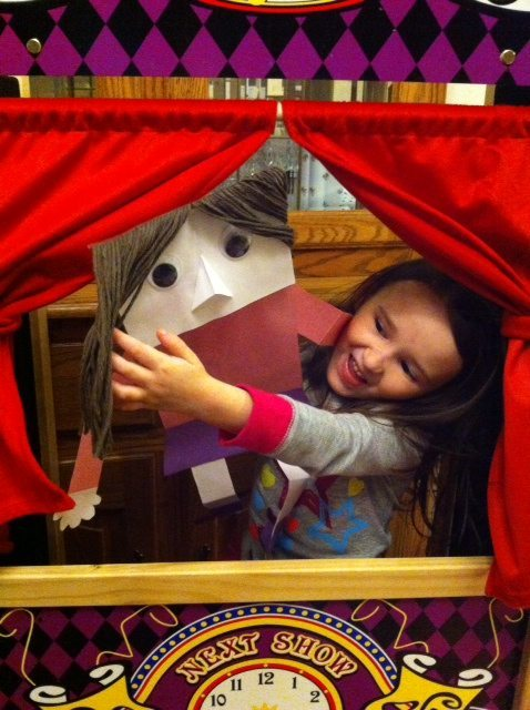 Paper Bag Puppet Time on a Cold, Snowy Day