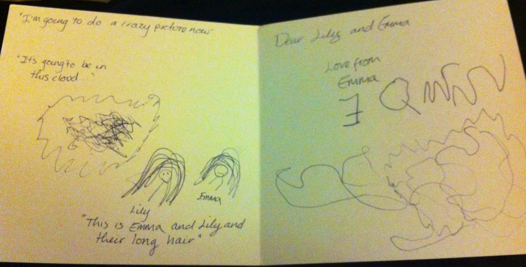 Inside of the Card - Emma's Note to the Girls