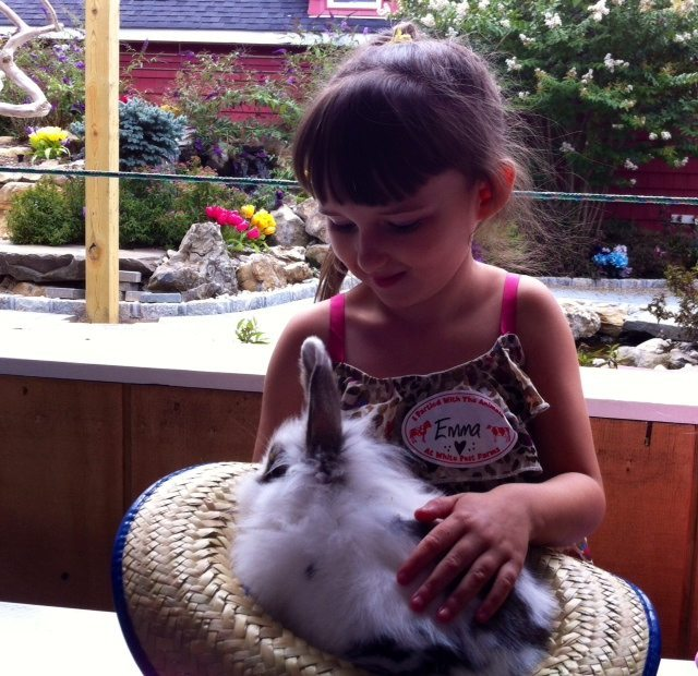 Emma Petting a Bunny at the Farm Thankfully She Forgave The Worst Mom in me.