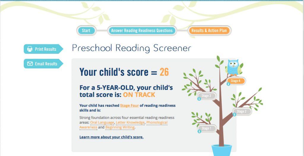 Pre-School Reading Screener Score
