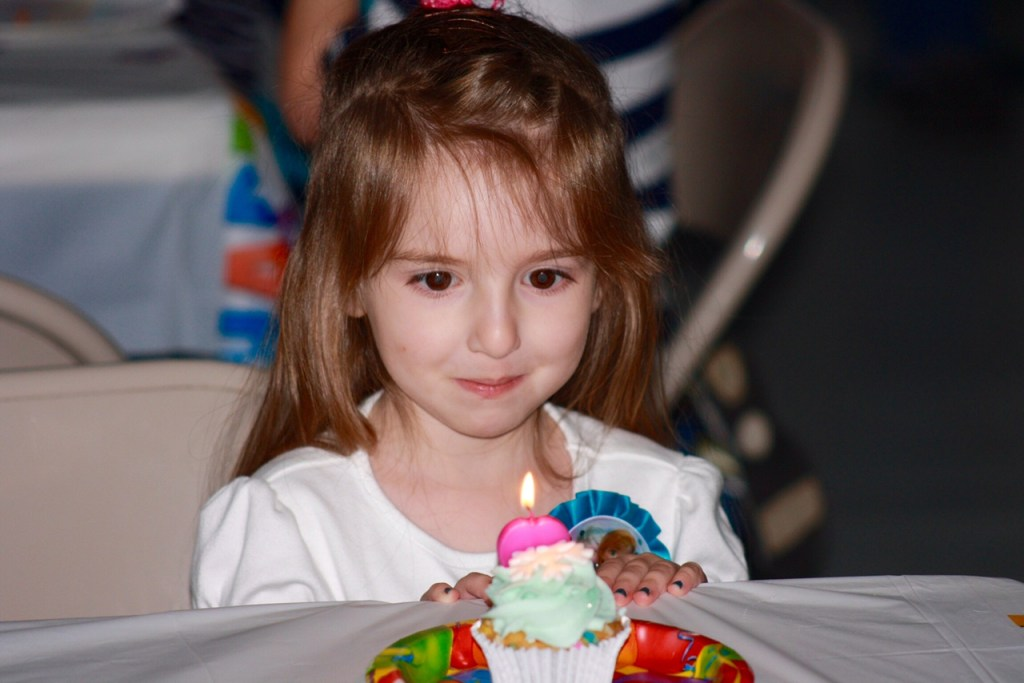 Lily blowing Out Candles