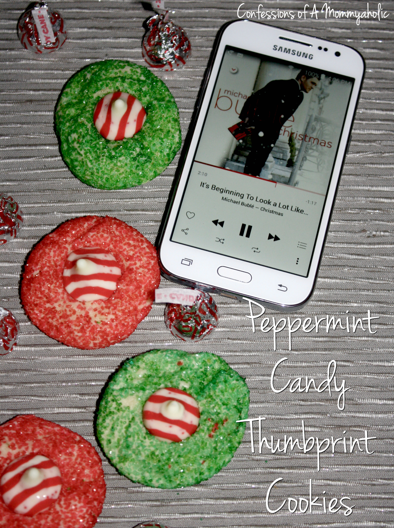 Peppermint Candy Thumbprint Cookies