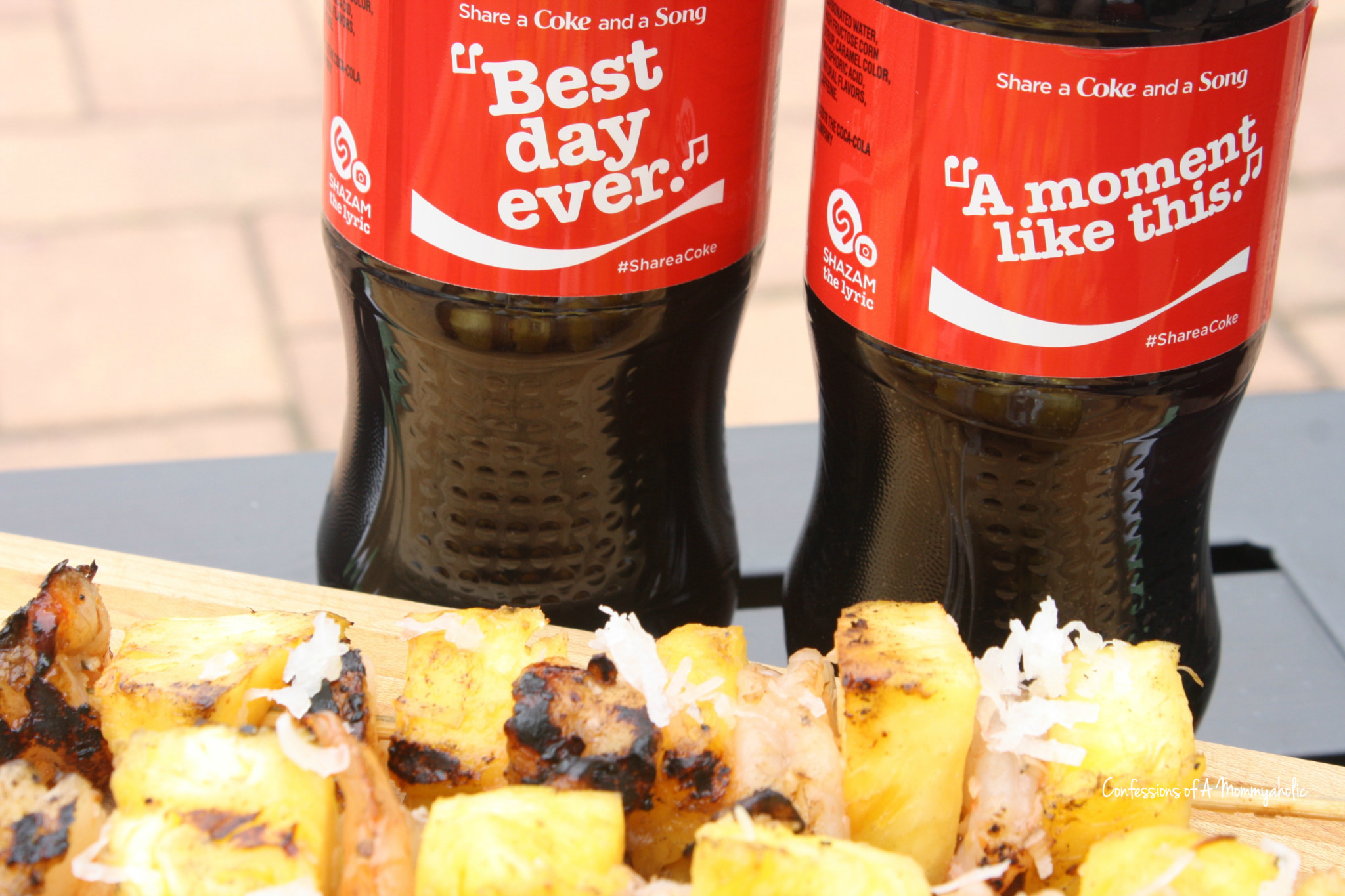 Share A Coke and a Song and Grilled Coconut Shrimp and Pineapple
