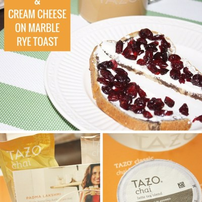 TAZO® CHAI LATTE WITH CRAISINS & CREAM CHEESE ON MARBLE RYE TOAST