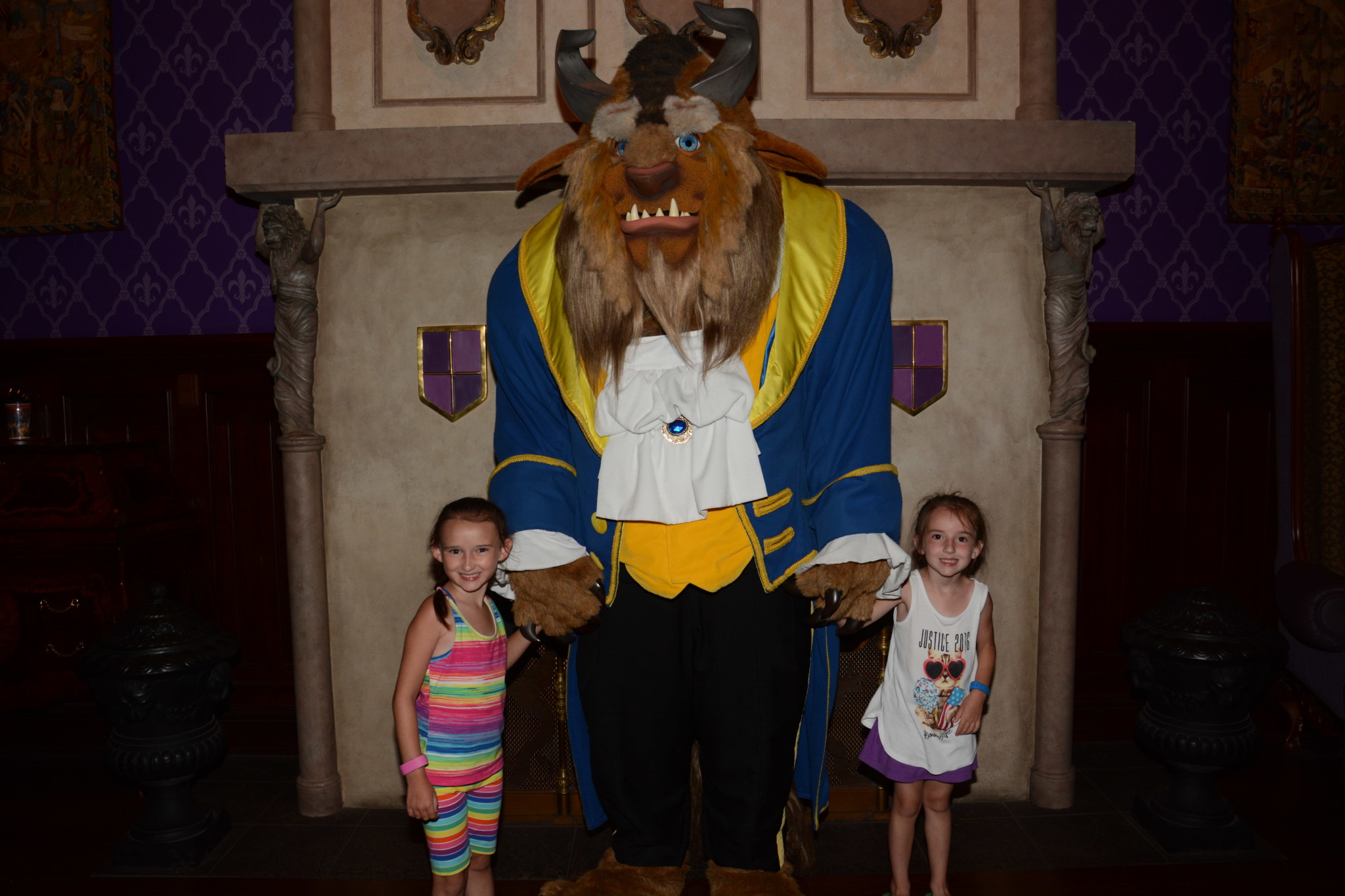 Posing with Beast at Be Our Guest