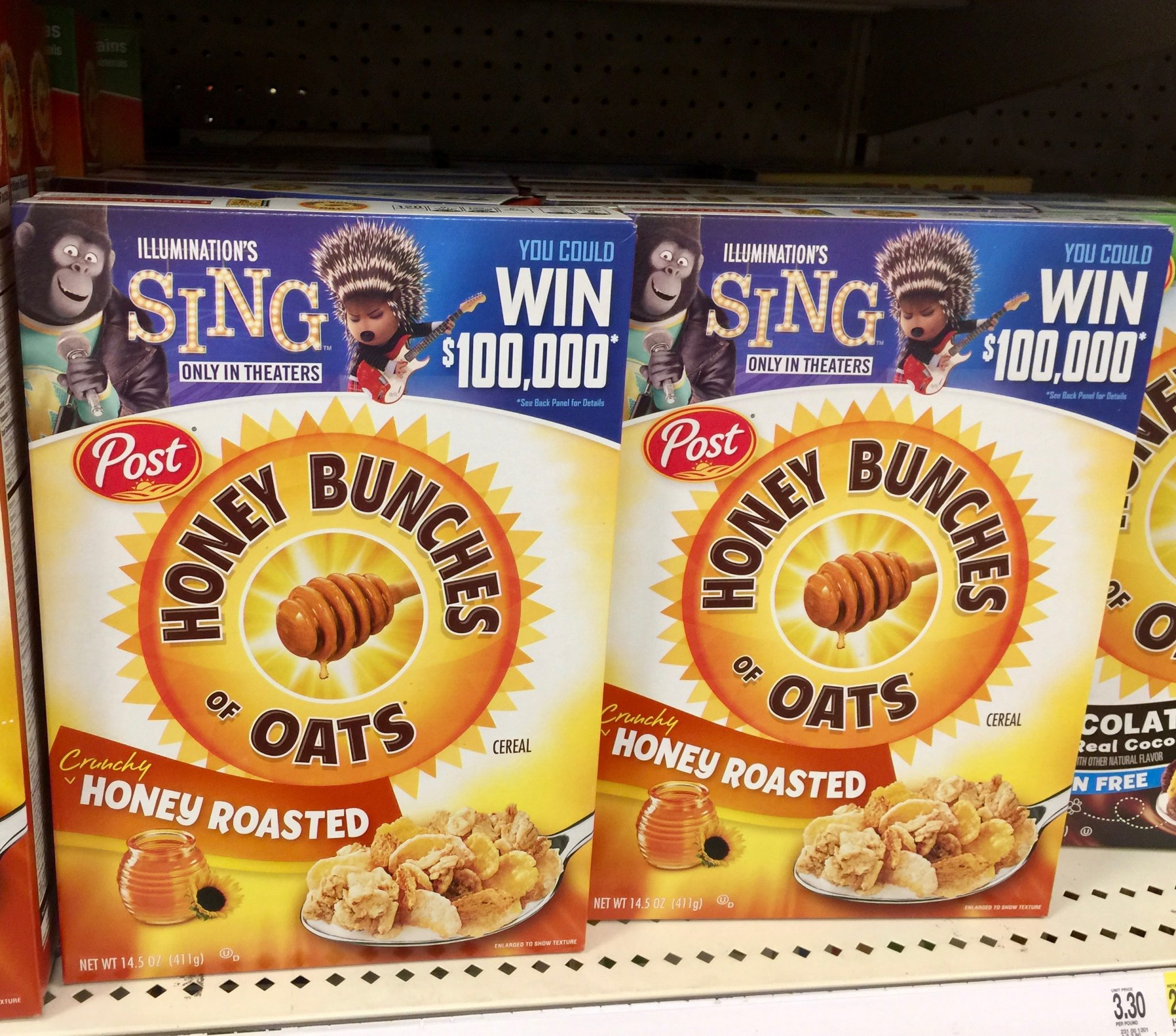 Honey Bunches of Oats Cereal Box with SING Movie at Target