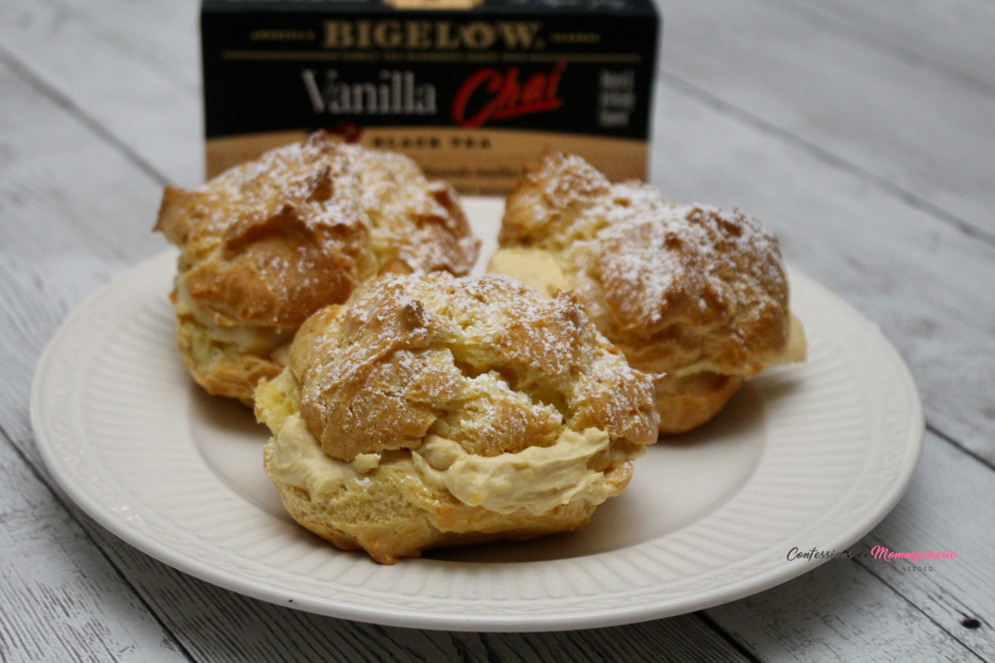 Cream Puffs and Bigelow Vanilla Chai Tea Package