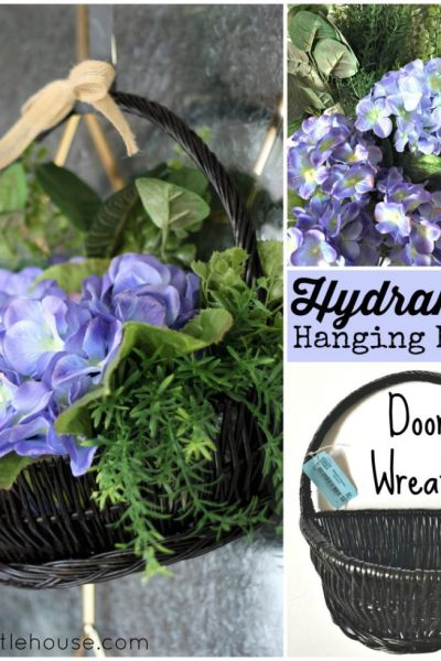 Hydrangea hanging door basket wreath-made-from-a-thrift-store-basket-and-dollar-store-flowers-at-apurdylittlehouse.com--1024x1024