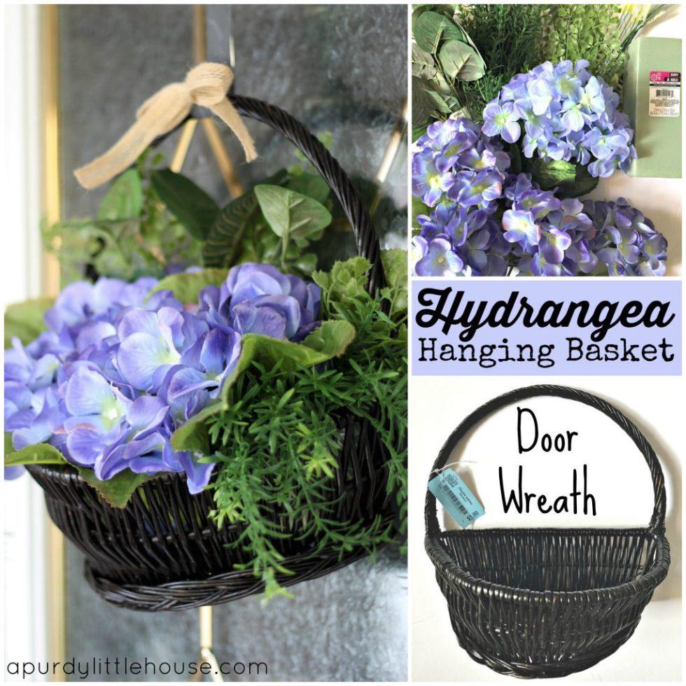 Hydrangea Hanging Basket Doorwreath Made From A Thrift Store Basket