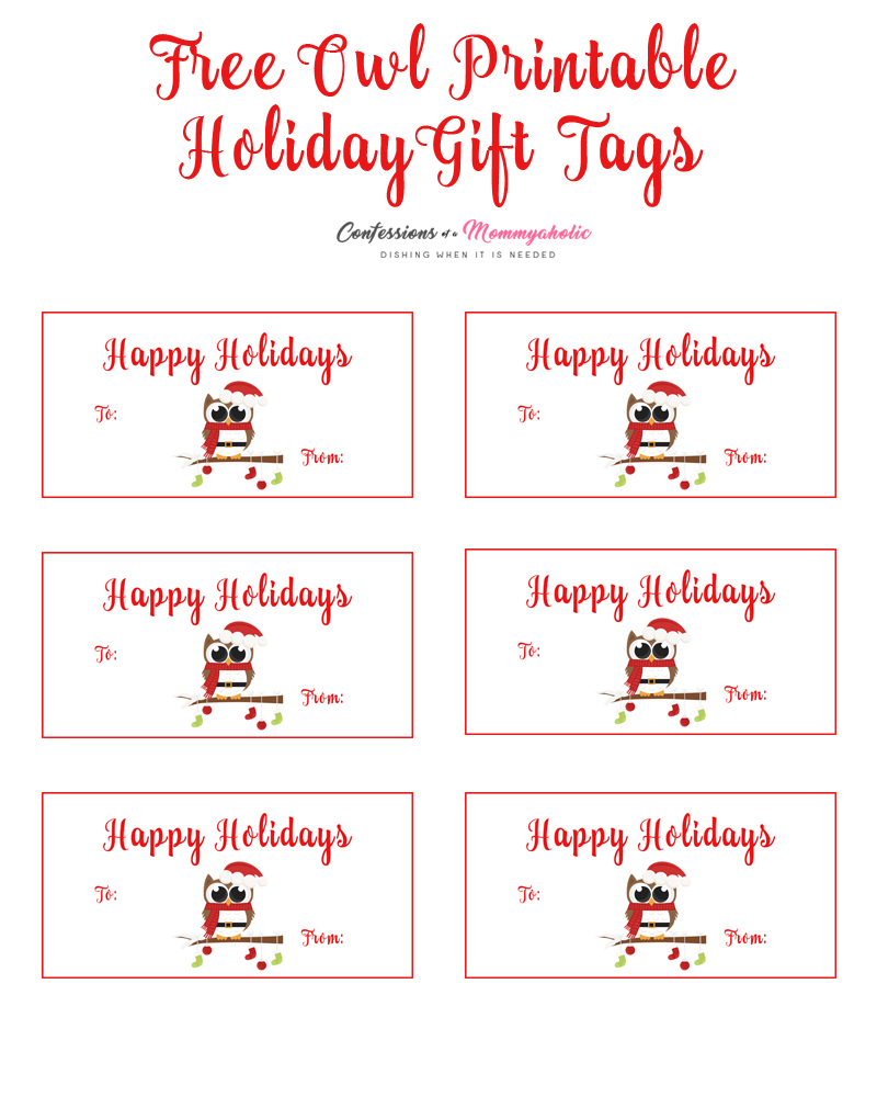 Owl Printable Holiday Labels
