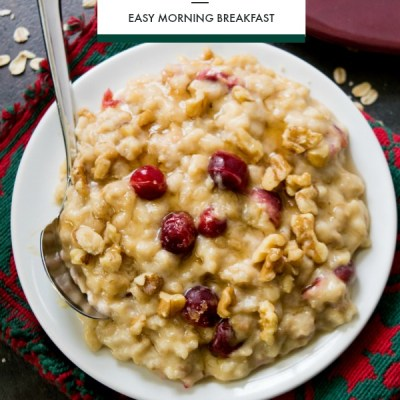 Slow Cooker Cranberry and Eggnog Oatmeal Breakfast