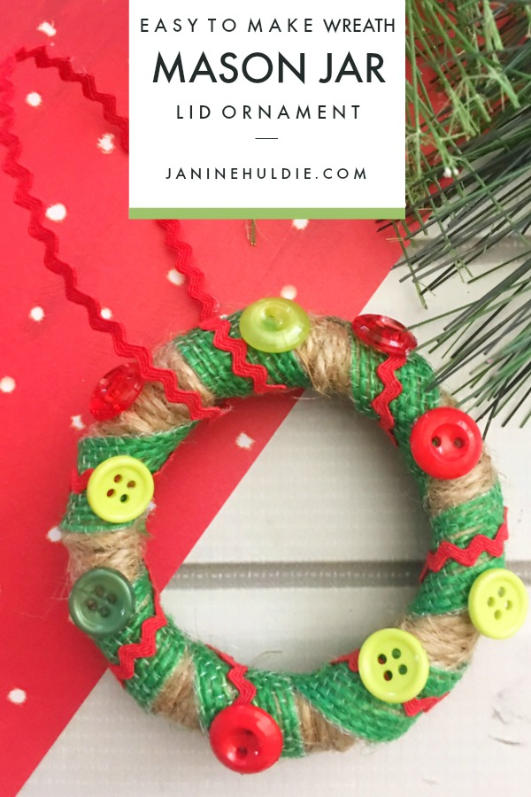 Wreath Mason Jar Lid Ornament
