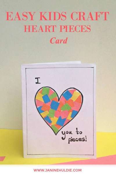 Easy Kids Craft Heart Pieces Card