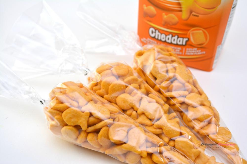 Step 1 for Filling Goldfish Carrots Snacks