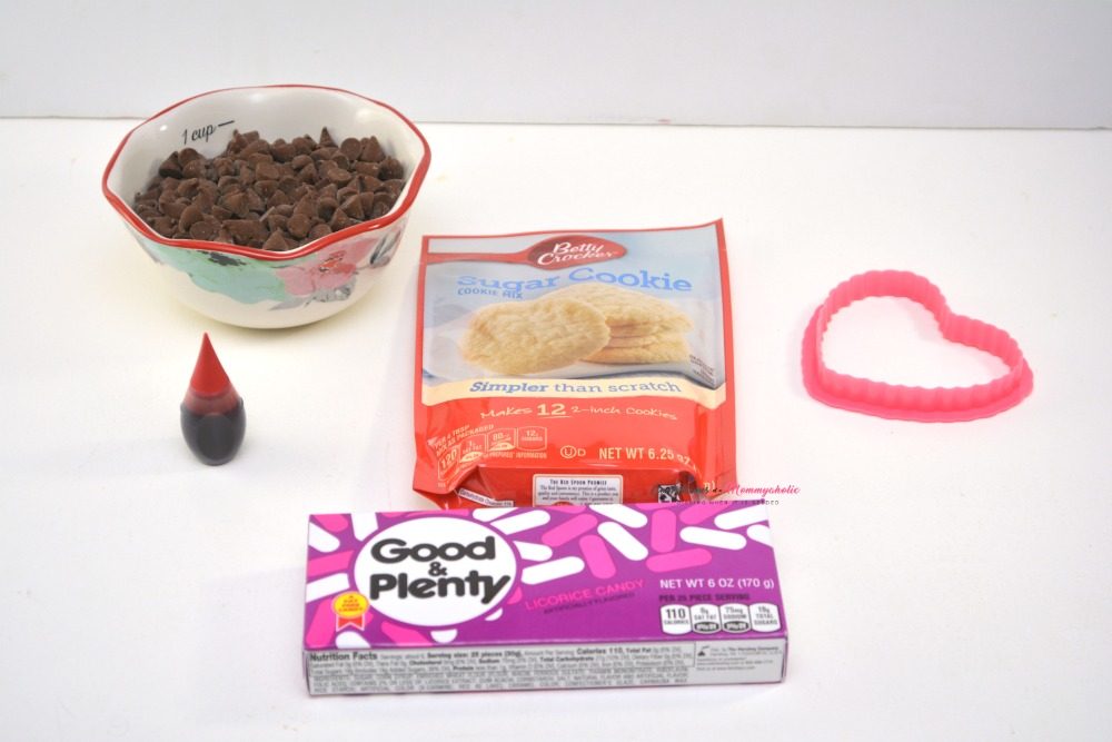 Supplies for Mickey Mouse Valentine Cookies