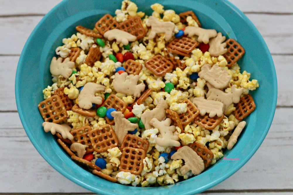 Closeup of Jumanji Jungle Popcorn Mix