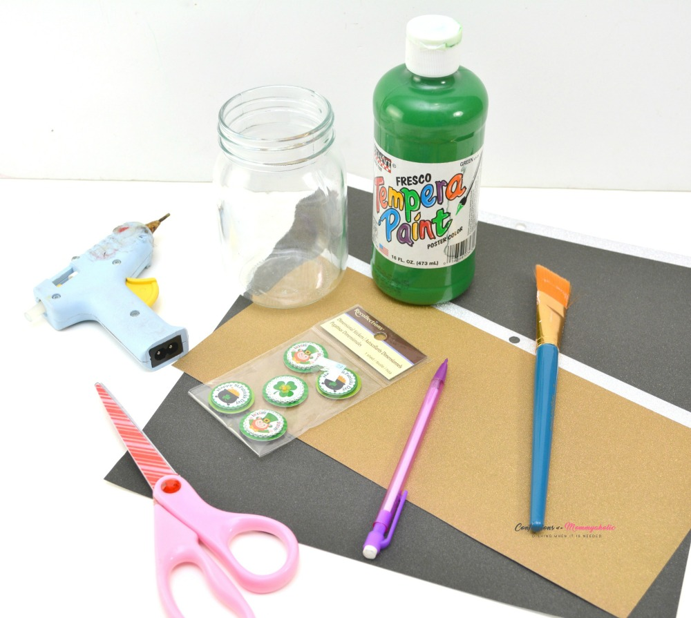 Supplies for Leprechaun Mason Jar