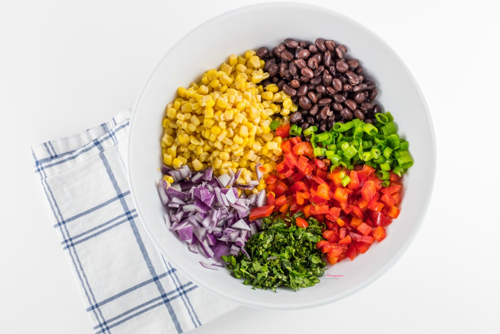Black-Bean-and-Corn-Salsa-Recipe Ingredients in a Bowl