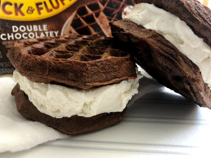 The Easiest Chocolate Waffle Vanilla Ice Sandwiches