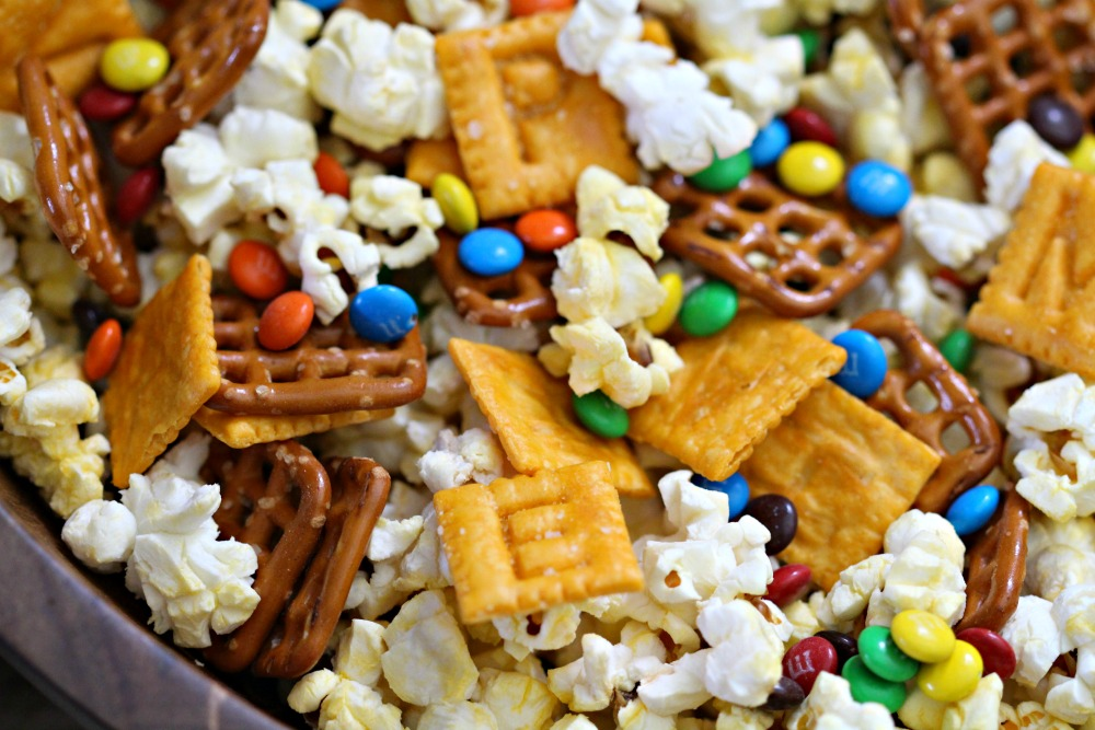 Closeup Alphabet Snack Mix in Bowl