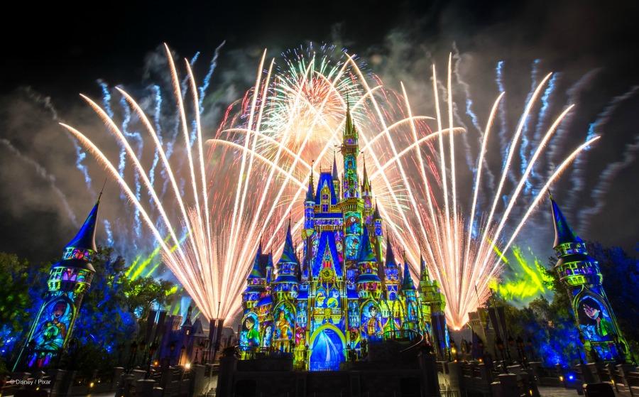 Walt Disney Magic Kingdom Fireworks and Illuminations on Cinderella Castle