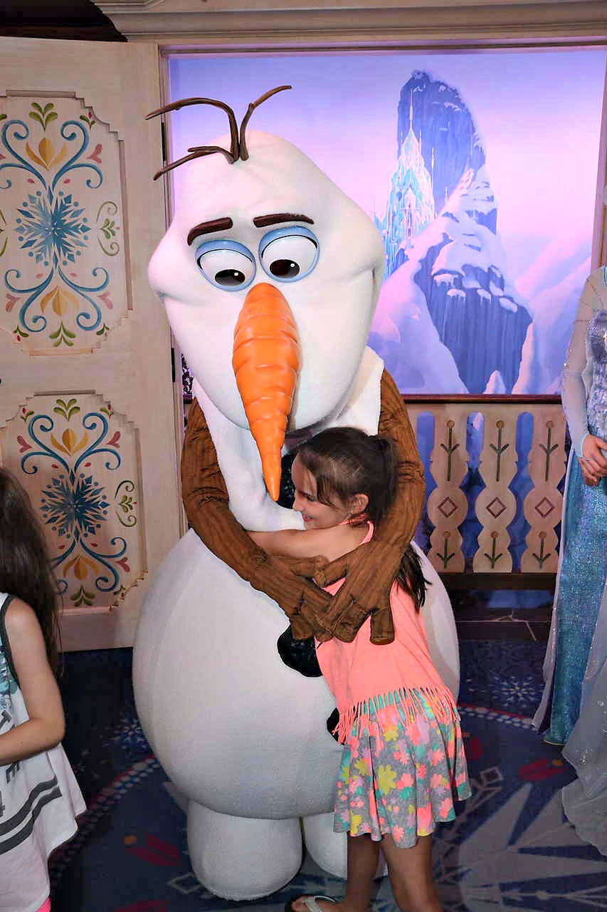 Walt Disney World Epcot DVC After Hours Event Hugging Olaf in Norway Pavillion
