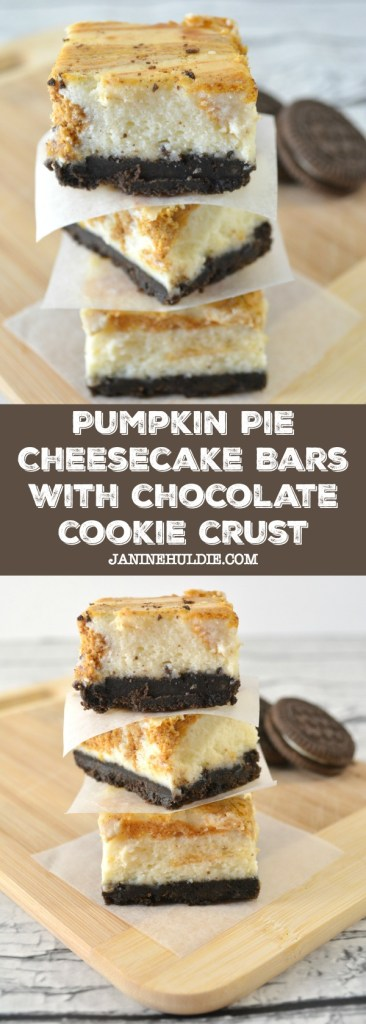 Pumpkin Pie Cheesecake Bars with Chocolate Cookie Crust Recipe