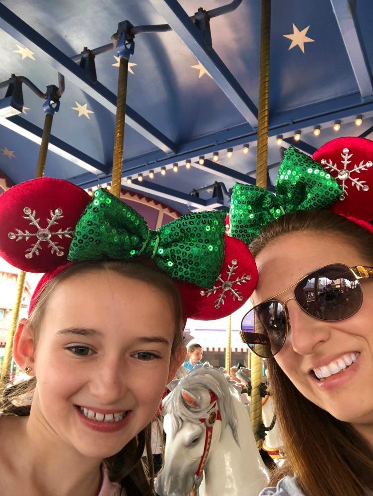 Sitting on Walt Disney Magic Kingdom Carousel
