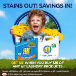 Spend $15 on all® Laundry Products to Get $5 Walmart eGift Card Now!