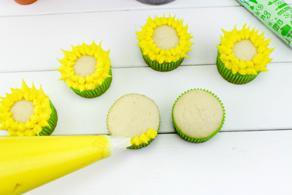 Sunflower Cupcakes In Process 1