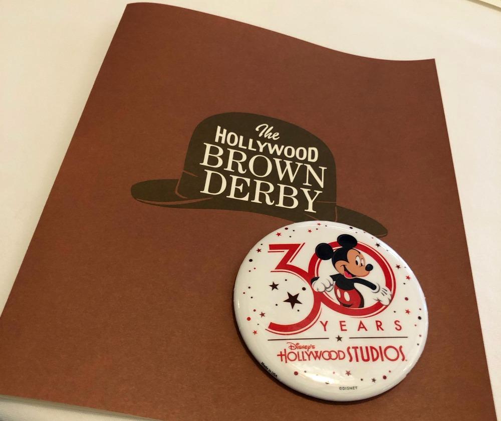 The Hollywood Brown Derby Menu on Hollywood Studios 30 Anniversary
