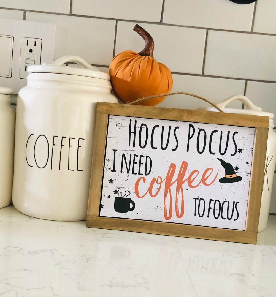 Hocus Pocus I Need Coffee to Focus Wooden Sign