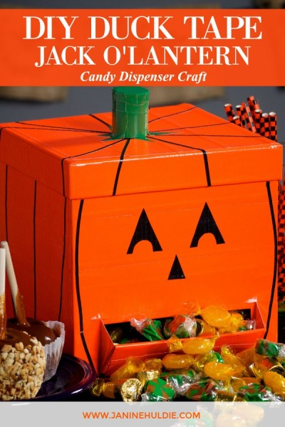 DIY Duck Tape Jack O Lantern Candy Dispenser Featured Image