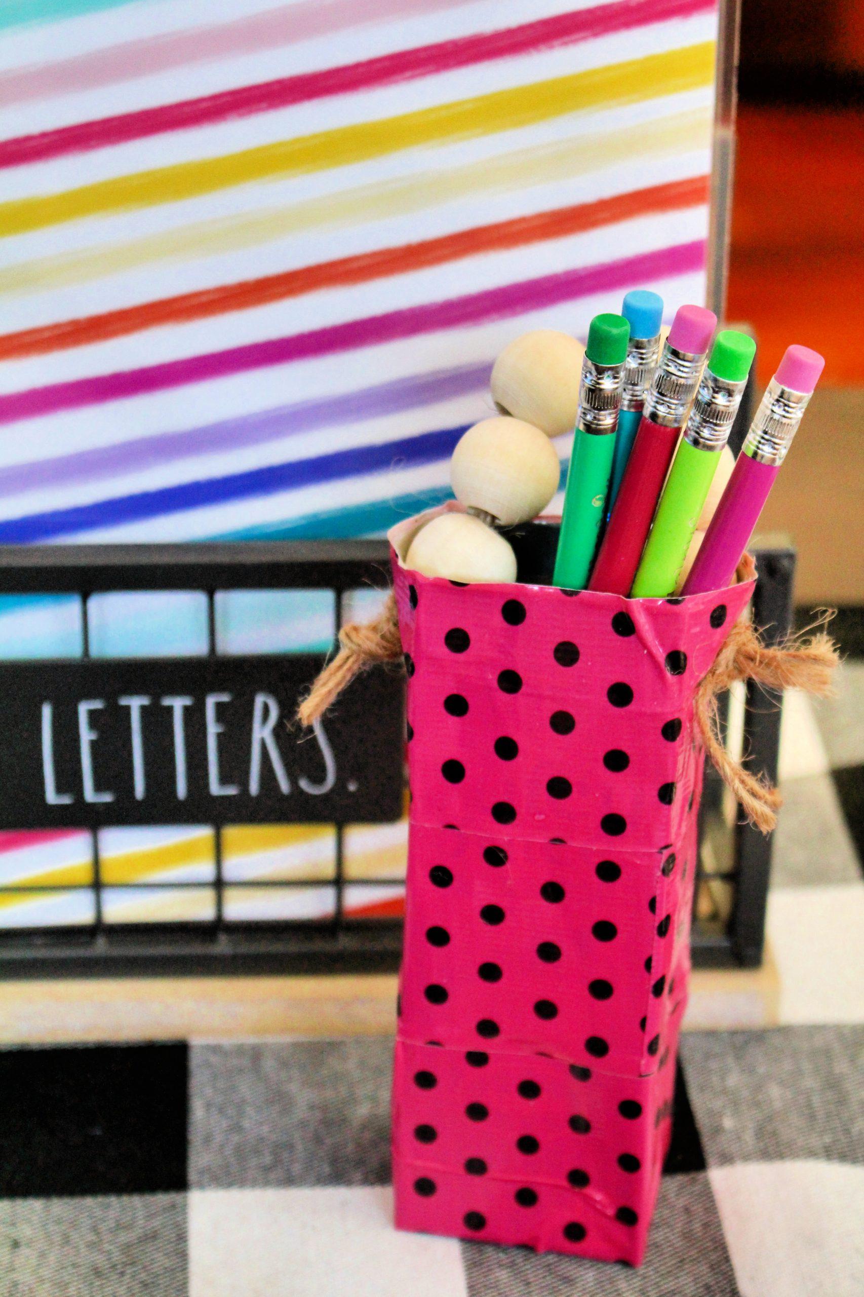 Washi Tape Upcycled Pencil Holder