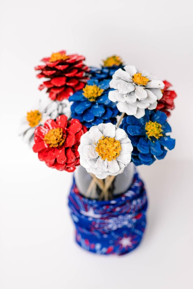 Patriotic Pinecone Floral DIY Decor Display 6