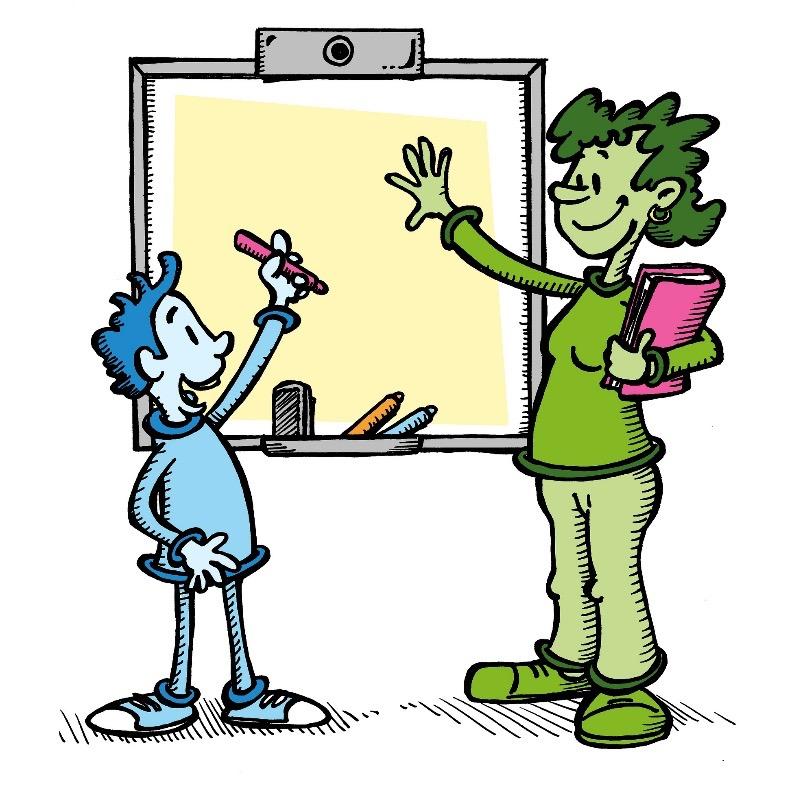 Cartoon Smartboard Teacher Strudent