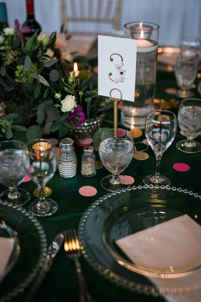 1. emerald table decor