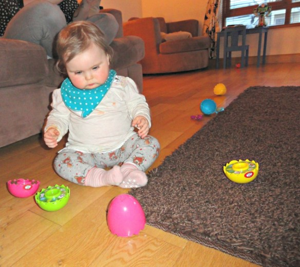 Chloe playing with WOW eggs